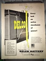 1954 10x13 Vintage Delco Car Battery General Motors Advertising Org Mag Print AD