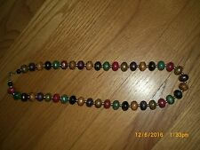 Multi Colored CHUNKY BEADED Necklace VINTAGE14 Inch drop