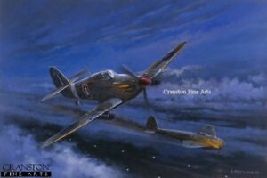 WW2 Signed Aviation Art Print RAF Hawker Hurricane nightfighter 1 sqd