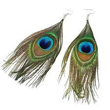 Peacock Feather Women Dangle Earrings Ear Drop Lady Jewelry Pair