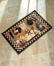Chef Checkered Kitchen Accent Rug Fat Chef Holding Wine Soft Durable Home Decor