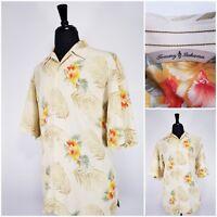 Men Tommy Bahama floral Hawaiian silk button up short sleeve shirt SIZE LARGE