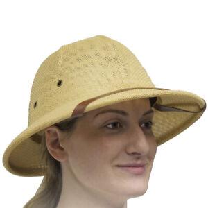 Men Straw Bucket Safari Jungle Hunter Explorer Pith Helmet Hat Film Play Props