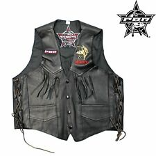 Professional Bull Riders PBR Men's Leather Vest Jacket Side-Laced Design, Small