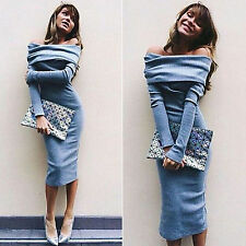 Womens Off Shoulder Spring Bodycon Dress Long Sleeve Sweater Party Evening Dress