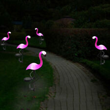 Solar Power Pink Flamingo Lawn Dector Garden Stake Landscape Lamp Outdoor Light#