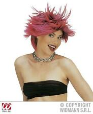 Neon Red And Black Wig Unisex Wind Swept Nu Rave Punk Spikey Fancy Dress