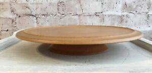 "Vintage Wooden Round Pedestal Cake Stand Tabletop Centerpiece Boho Farmhouse 12"""