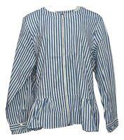 Denim & Co. Women's Sz XL Yarn Dyed Striped Peplum Jacket Blue A351550