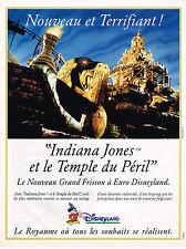 """PUBLICITE ADVERTISING 094  1994   EURO DISNEYLAND  """"INDIANA JONES"""""""