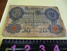 BANKNOTE GERMAN Reichsbanknote 20 marks 1910 -- RARE
