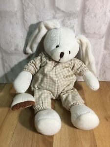 """Doudou Et & Compagnie Sleepy Rabbit 10"""" Knitted Bunny Comforter Soft Plush Toy"""