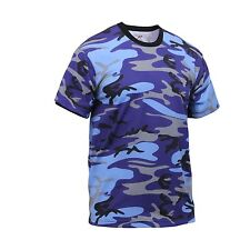 CAMOUFLAGE T-SHIRT  ELECTRIC BLUE Made IN USA poly/cotton Size 3XLARGE