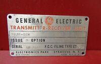 VINTAGE GENERAL ELECTRIC TRANSMITTER - RECEIVER ID INFORMATION EMBLEM