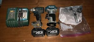 MAKITA 18v TRIM ROUTER KIT +BATTERIES, CHARGER, FREE IMPACT DRIVER LOOK!