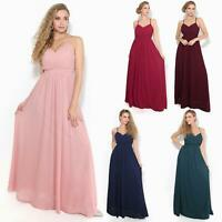 Womens Ladies Strappy Maxi Dress Formal Wedding Evening Party Ball Gown Cocktail