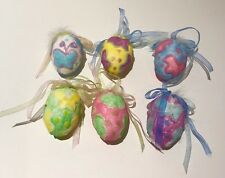 Easter Eggs With Ribbon & Feathers Homemade Lot of 6 Beautiful Colors