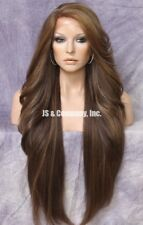 """38"""" Long Lace Front Wig wavy bangs Brown Blonde Hair Piece Fashion WEPC 8-27-613"""