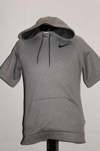 NIKE Mens Small S Dri-Fit short sleeve hoodie/hooded warm-up Sweatshirt