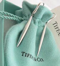 Tiffany & Co. E. Peretti Sterling Silver Feather Drop Dangle Earrings in Box