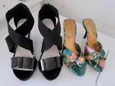 Black Patent Wedges & Sweet Vintage Oriental Print Heels - Size 6 / 37