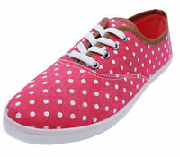 LADIES PINK POLKADOT CANVAS FLAT SLIP-ON PLIMSOLL PUMPS COMFY CASUAL SHOES
