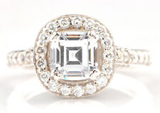 Ring In Real 14Kt White Gold Vvs1 3.00 Carat Cushion Shape Solitaire Engagement