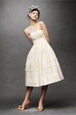 BHLDN Hitherto Fondant Wedding Dress Size 2 Tea Length Buttercream Ivory Retro