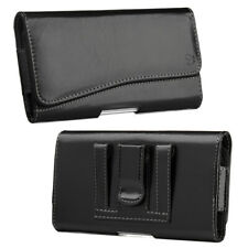 Solid Black Luxmo Leather Belt Clip Pouch Holster Phone Holder Horizontal