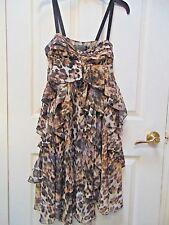 H&M Women's Animal Print Pattern Brown Spaghetti Strap Sun Dress 4