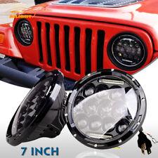 2X 7 Inch 75W Dual Beam LED Headlight DRL For 97-18 Jeep Wrangler JK YJ TJ CJ