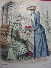 """39/ GRAVURE DE MODE """" Moniteur de la Mode Paris 1891 """".   Grand format 36x26"""