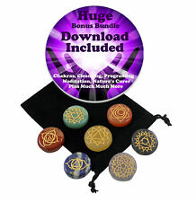 ROUND SHAPE CHAKRA SET 7 STONE ETCHED ENGRAVED Crystal Healing Reiki Wicca Etc