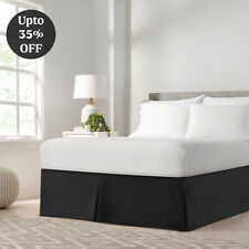 """Pleated Egyptian Solid Bed Skirt Luxury Dust Ruffle Microfiber 16"""" Tailored Drop"""