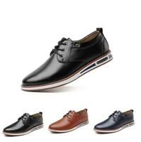 Mens Business Lace Up Formal Casual Outdoor Flat Round Toe Dress Leather Shoes