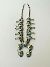 Gorgeous Navajo Style Silver Bear Paws Turquoise Squash Blossom Necklace.