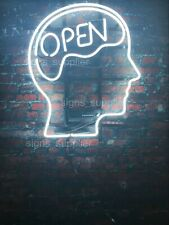 "New Open Mind White Neon Light Sign 14"" Real Glass Decor Artwork"