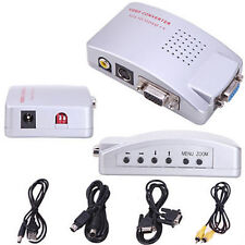 Computer VGA to TV RCA Composite Converter Adapter S-Video Box PC Laptop LCD EM