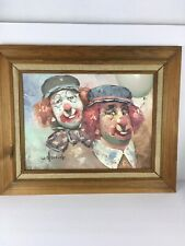 "Vintage Original Art, Oil Painting on Canvas Artist Signed W. Moninet"" Clowns"