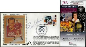 Gordie Howe JSA Signed NHL 75 Years Canada FDC Gateway Stamp Cachet FDI Postmark