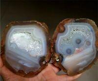 1 Pair!Beautiful Landscape Picture Agate Geode Quartz Crystal Specimen Eye Agate