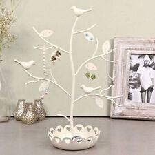 New Cream Metal Bird Jewellery Holder Tree Display Stand Necklace Bracelet Gift