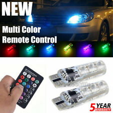 2x W5W T10 5050 6SMD RGB LED Multi Color Light Car Wedge Bulbs Remote Control JO
