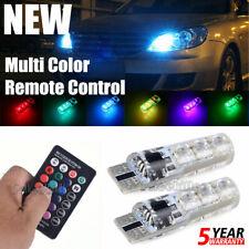 2x W5W T10 5050 6SMD RGB LED Multi Color Light Car Wedge Bulbs Remote Control JO