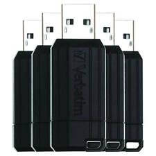 Verbatim 8GB PinStripe USB 2.0 Flash Drive Memmory Stick Pen Black - 5 Pack New