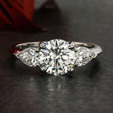 1.8 Cts Round Cut Moissanite Three-Stone Engagement Ring in 9k Solid White Gold