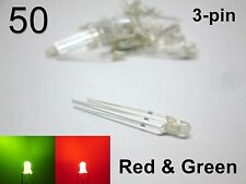 50pcs 3mm Red & Green FOG LED 3-pin - Round Diffused Light Emitting Diodes (50)