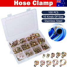 100X Hose Clamps 6-22mm Adjustable Fuel Line Cable Petrol Pipe Clip Spring Steel