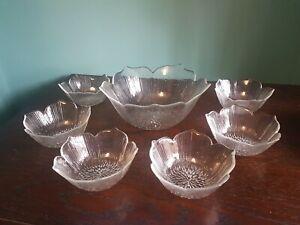 6 +1 Vintage Retro Arcoroc Totem Sunflower Glass Trifle Dessert Sundae Dishes