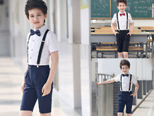NEW 4Pcs Toddler Boy Kids Formal Short Suit Wedding Party Outfits size 2-12Y